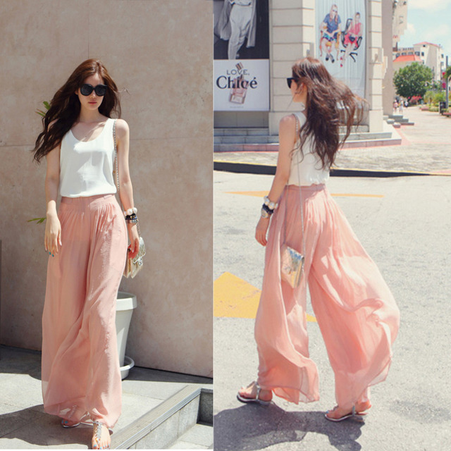 Jampelle Summer Women High Waist Chiffon Loose Casual Solid Color Pants Female