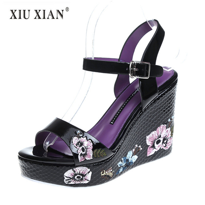 2018 Summer New Design Embroider Flower Women Sandals Super High Heel Platform Sexy Ladies Sandals Fashion All-match Casual Shoe stylesowner fashion women rivets pearl platform wedges flower sandals buckle metal high heel ladies sandals summer platform shoe