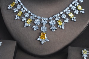 Image 3 - HIBRIDE 3 PCS Luxury Yellow Cubic Zirconia  Women Jewelrt Sets Bridal Fashion Jewelry Wedding Party Necklace Set N 335