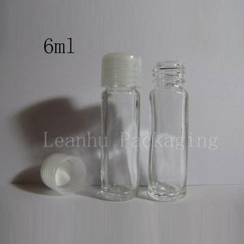 50pcs/lot, 6ML small cute Cylindrical clear bottle glass perfume bottle small bottle , personal care