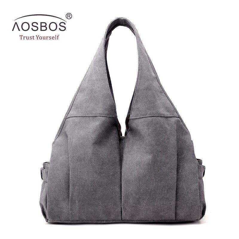 Aosbos Large Capacity Canvas Gym Bag Multi-pocket Sports Bags For Women Fitness Outdoor Travel Handbag Durable Portable Yoga Bag