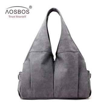 2b8ffd9ee Aosbos la lona de gran capacidad bolso de gimnasio Multi-Bolsillo bolsas de  deporte para las mujeres Fitness al aire libre de viaje bolso Durable  portátil ...