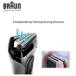 Image 4 - Braun Series 3 3000S Mens Electric Razor 3 Independently Floating Shaving Elevments Dry & Wet Electric Shaver