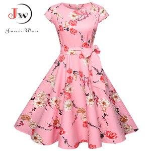 Image 5 - Print letnia sukienka damska kwiatowy krótki kimonowy rękaw sukienka Vintage z paskiem elegancka sukienka sukienka na imprezę w stylu Rockabilly Sundress Plus rozmiar