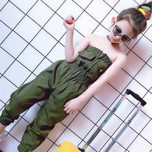 Girls green fashion overalls 2019 summer new Elastic waist Korean style Siamese trousers Tube top pants children Onesies ws841