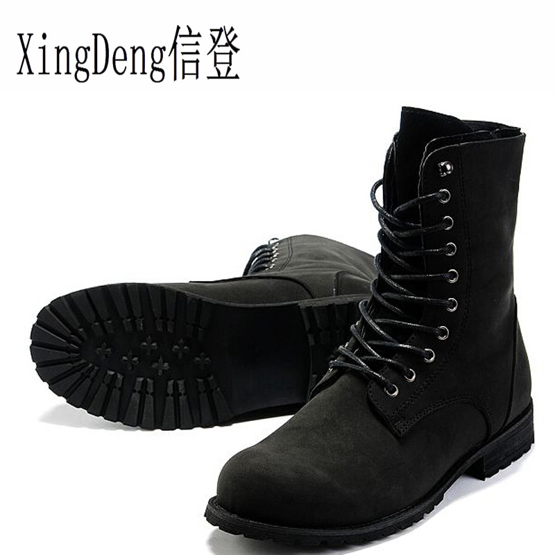 XingDeng Army Military Desert Tactical Combat Boots England Style Male Winter high-top Motorcycle Boots Size 39-44