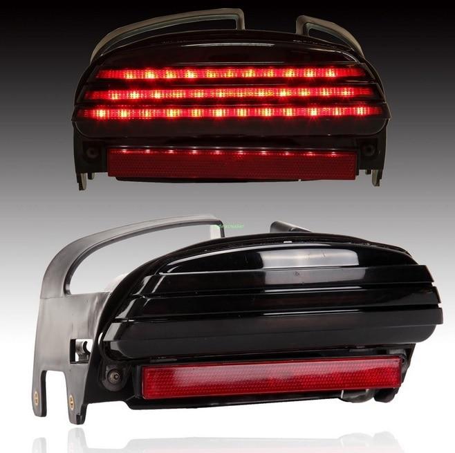 ФОТО Tri Bar Fender LED License Plate Bracket Tail Light For 08+ Harley Dyna Fat Bob