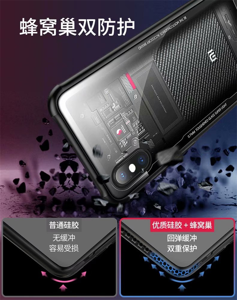 Tempered Glass Case for Xiaomi Mi 8 Mi8 Transparent Back Cover for Xiaomi Mi 8 Soft Silicone Bumper For Xiaomi 8 explorer Case in Fitted Cases from Cellphones Telecommunications