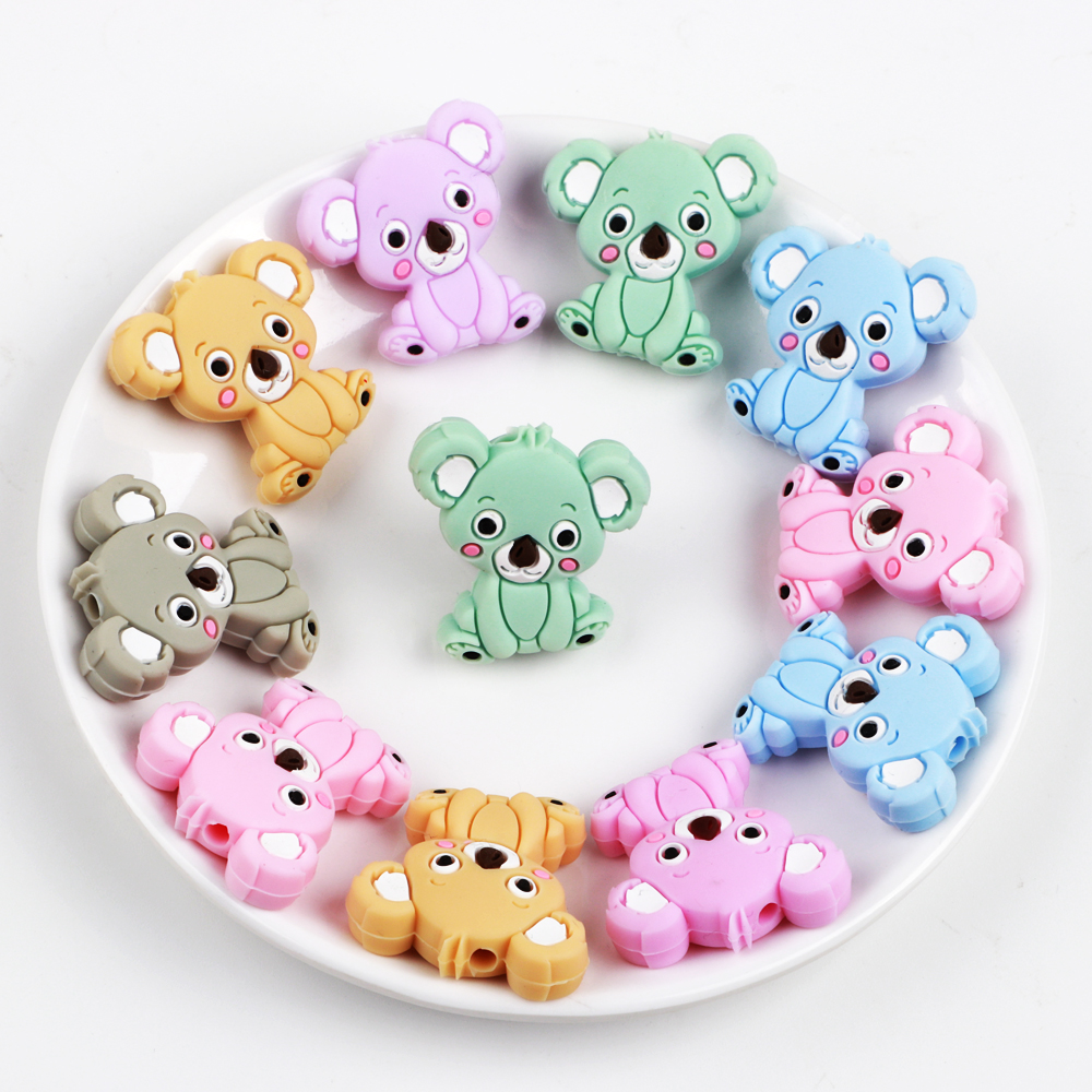 TYRY.HU 6pcs Silicone Beads Mini Koala Food Grade Baby Teething Nursing Necklace Silicone Teether Beads DIY Pacifier Chain Gift