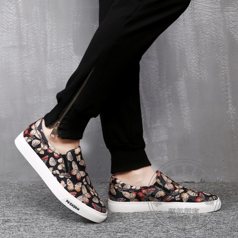 ФОТО Flat Platform Canvas Printing New Mature Color Block Men Shoes Luxury Brand Mens Loafers Leather Concise Mens Various Exquisite