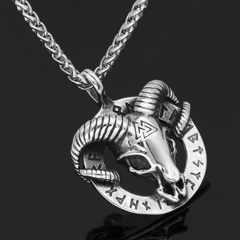 Men stainless steel nordic viking amulet thor goat valknut pendant necklace with gift bag