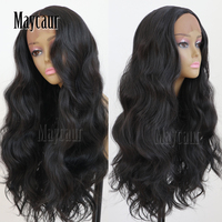 Maycaur Hair Middle Part Long Body Wave Hair Lace Wigs Glueless Black Color Synthetic Lace Front Wigs for Black Women