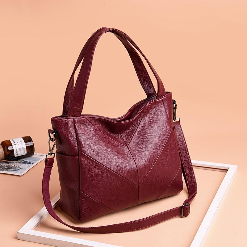 Women Handbag Leather Women Shoulder Bags 2 sets Famous Brand ... dc57413d3a7f1
