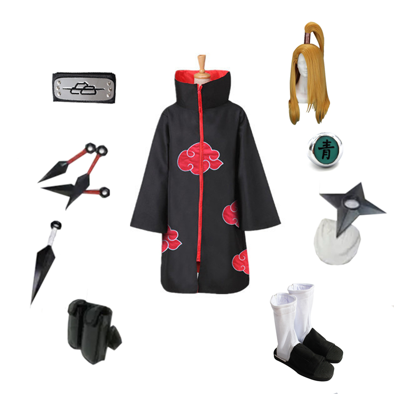 Brdwn NARUTO Unisex Akatsuki Deidara Cosplay Costume Full Set( Red Cloud Cloak+Headband+Shoes+Ring+Kunai+bag+shuriken)