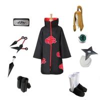 brdwn NARUTO Unisex Akatsuki Deidara Cosplay Costume Full set( Red Cloud Cloak+Headband+Shoes+Ring+Kunai+bag+shuriken)
