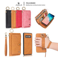 Wallet Case for Samsung Galaxy S10 Plus Handheld Weave Pattern Card Slots Leather Cases for Galaxy S10 Lite S8 S9 Plus Note 8 9