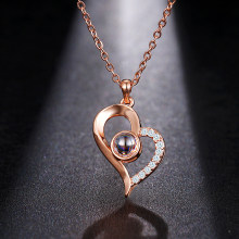 Emmaya Brand New Rose Gold Silver 100 Language I love You Necklace Memory Projection Pendant Wedding Letter Drop Shipping(China)