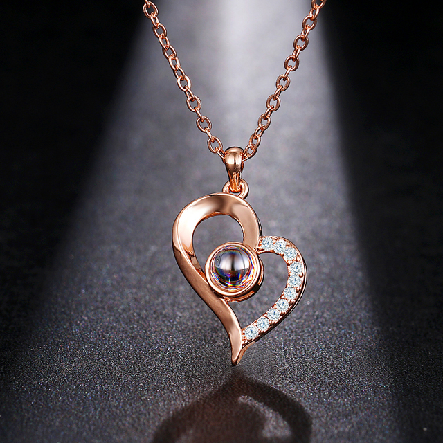 Emmaya Brand New Rose Gold Silver 100 Language I love You Necklace Memory Projection Pendant Wedding Letter Drop Shipping