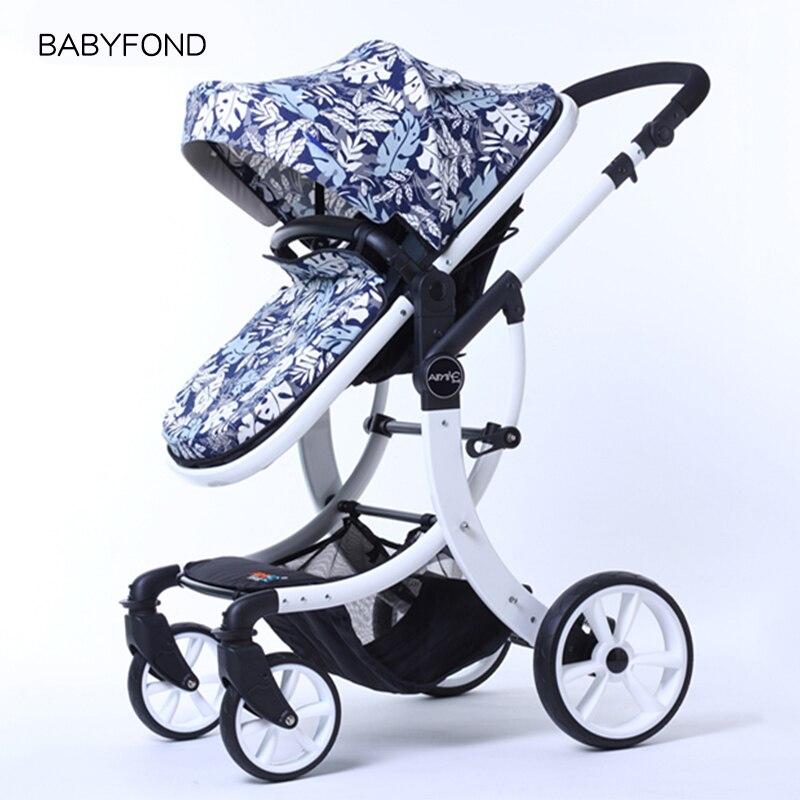 2019 EU poussette marque de luxe bébé poussette 2 en 1 haut paysage en trois dimensions quatre chariots ronds cadre doré 9 couleurs