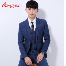 (Jackets+Pants) Males Enterprise Plaid Swimsuit Units Slim Match Tuxedo Occasion Costume Fits Cotton Single Button Wedding ceremony Formal Fits SL-Ok308