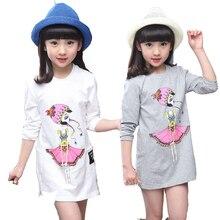 Детские футболки для девочек милые хлопковые длинные рубашки с рисунком новая весенне-осенняя одежда для детей топы для девочек