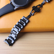 استبدال watchbands السيراميك الأسود ووتش باند لسامسونج جير s3 الحدودي حزام الذكية اسوارة 22 ملليمتر منحني ينتهي الخاصة