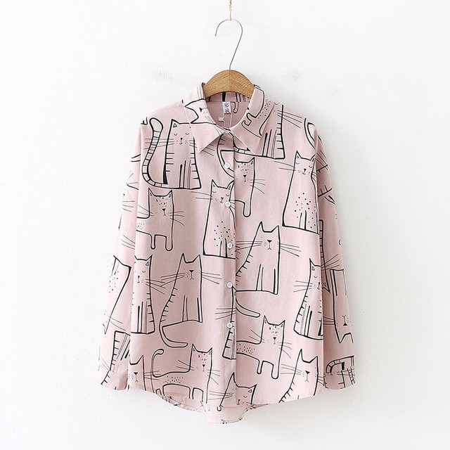 Cat Print Long Sleeve Shirt