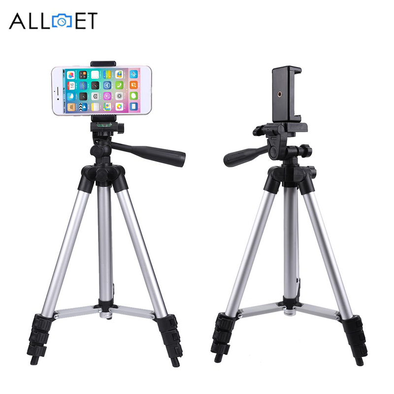 ALLOET 106cm Portable Digital DSLR Camera Phone Tripod Stand With Mobile Phone Clip Holder Tripod For iPhone XS X 7 6S 6 Plus 5s(China)