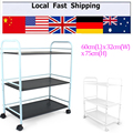 New Langria 3-Tier Metal Rolling Cart Bathroom Shelves for Kitchen Pantry Office Bedroom Bathroom Washroom Laundry