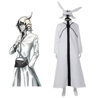 Hot Caricature BLEACH Cosplay Costume for men adult Ulquiorra cifer costume Halloween Costume white jacket full set outfits