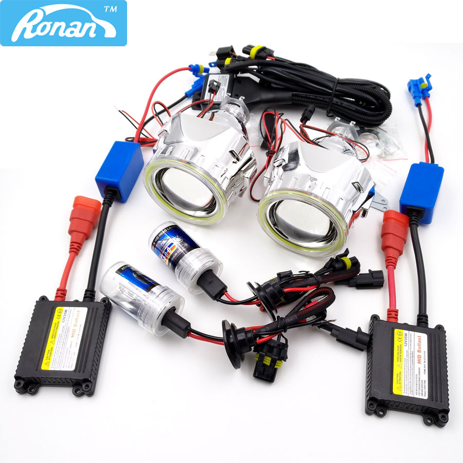 RONA 2.5inches HID Bi-xenon Projector Lens headlight Full Kit with COB angel eyes Relay wire Car Styling H1 H4 H7 4300K 5000K... royalin car styling hid h1 bi xenon headlight projector lens 3 0 inch full metal w 360 devil eyes red blue for h4 h7 auto light