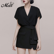 Max Spri 2019 Summer New Fashion Office Lady Sexy Deep V Short Sleeves Crop Top With Sashes Mini Skirt 2 Piece Sets Suit grey strip crop top with short sleeves