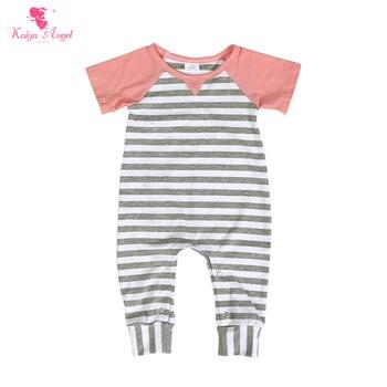 Kaiya Angel Newborn Baby Spring Hemp Ash Striped Cotton Rompers Summer Children Clothing Boy Toddler Girl Outfits Wholesale