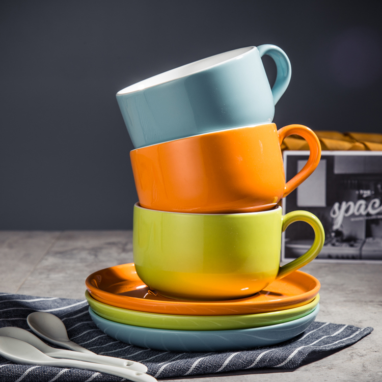 300ml Ceramic matte finish colored glaze coffee cup and saucer black tea cup breakfast cup flower tea cup blue orange green