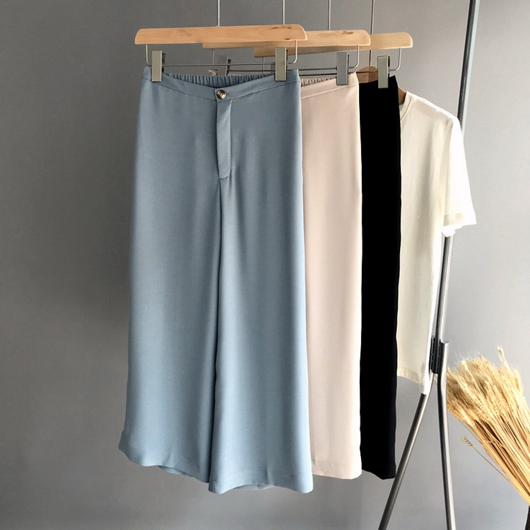 Pants Female Summer Spring 2018 New Womens Pants Loose Trousers Korean Style Ankle Length Solid Pantalon Femme Blue Black Hot