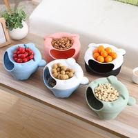 Cute Bear Ears Melon Seeds Nut Bowl Table Candy Snacks Dry Fruit Holder Storage Box Plate