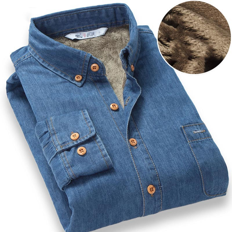 Top Quality Fashion Brand Winter Jeans Shirt Men Warm Fleece Lined Velvet Denim Shirts 4XL Male Bottoming Shirt 1