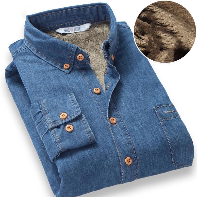 Top Quality Fashion Brand Winter Jeans Shirt Men Warm Fleece Lined Velvet Denim Shirts 4XL Male Bottoming Shirt 1