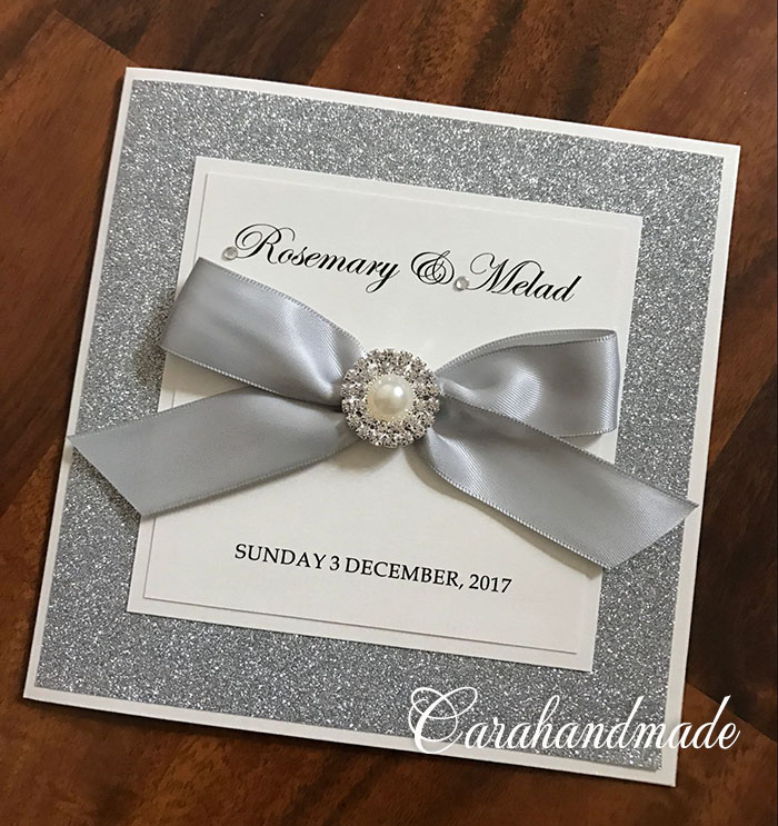 Handmade Glitter Wedding Invitation Cards With Peal Buckle And Bow