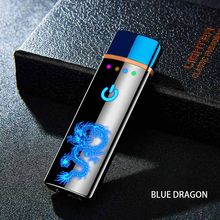 Tungsten Turbo USB Lighter Touch Lighter Curved Full Screen Cigarettes For Smoking Electronic Lighter Can Custom laser Logo(China)