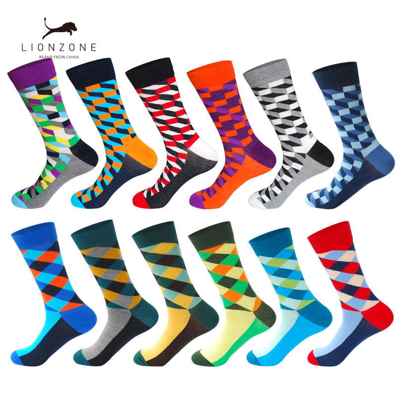 LIONZONE 12Pairs/Lot Men Funny Colorful Combed Cotton Socks Dozen Pack Muti Stripe Patterns Casual Dress Wedding Happy Socks