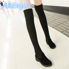 Hot Fashion Women Boots Knitted Knee High Elastic Slim Long Women Shoes Zapatos Mujer Tenis Feminino Chaussure Homme Shoes Women