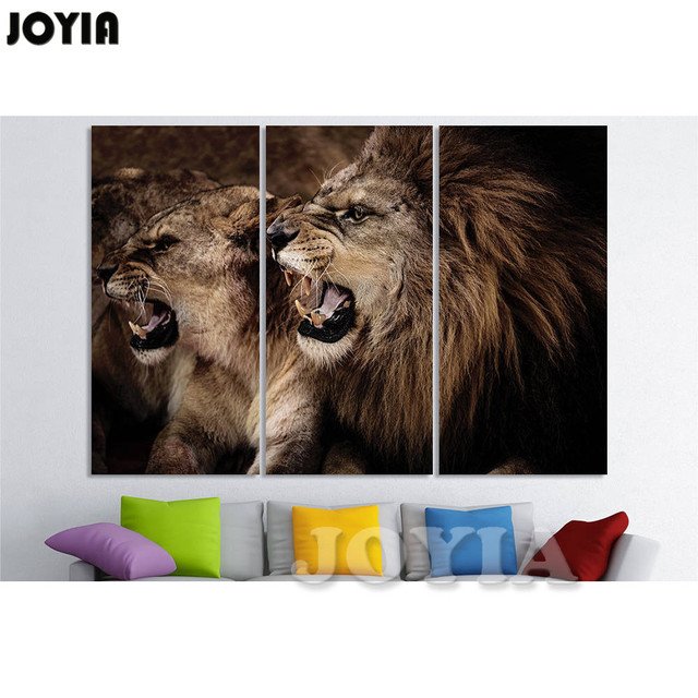 Lion Wall Art Frameless Painting One Piece Modern Home Decor Lion Print  Posters 5 Piece Canvas