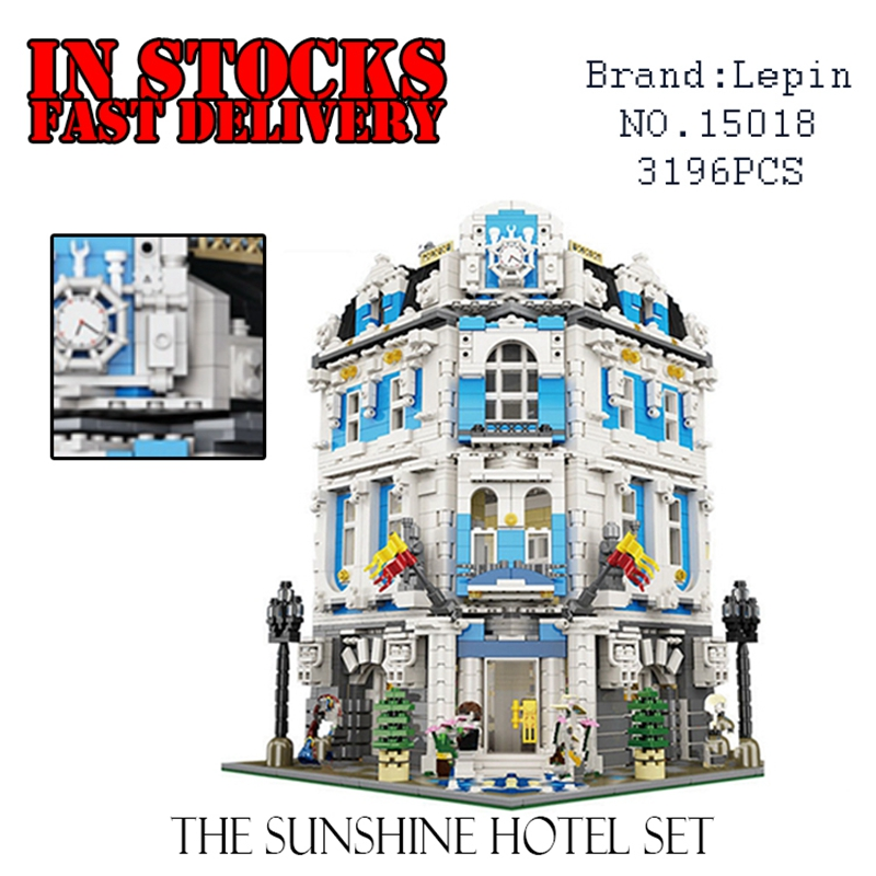 Lepin 15018 New MOC Creator City Series The Sunshine Hotel Set Building Blocks Bricks Figures Toys new 3196pcs lepin 15018 moc city series the sunshine hotel set building blocks bricks educational toys diy children day s gift