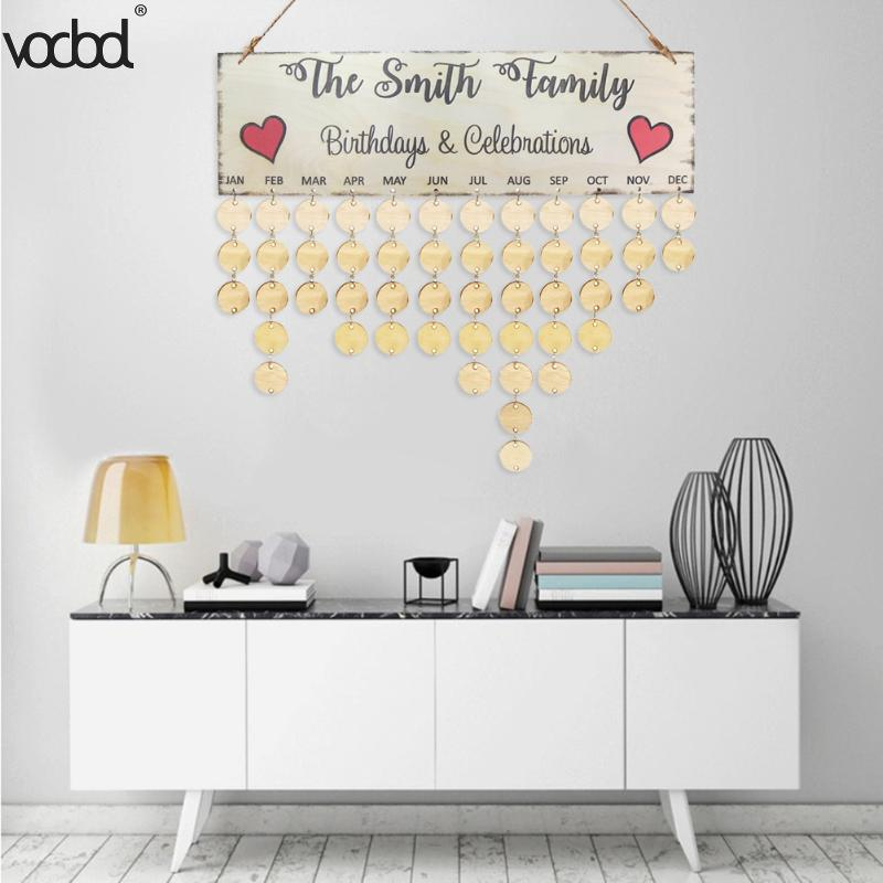 VODOOL DIY Wooden Birthday Calendar The Smith Family Printed Wall Calendar Sign Special Dates Planner Board Hanging Decor Gifts