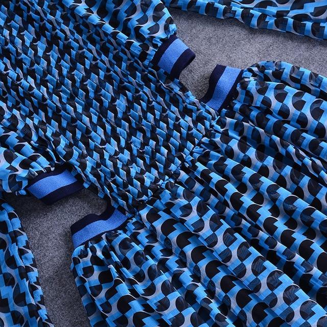 [DEAT] 2020 Spring Summer New Pattern Turtleneck Three Quarter Sleeve Hollow Empire Waist Printing Ladies Sexy Tunic Dress BA626 5