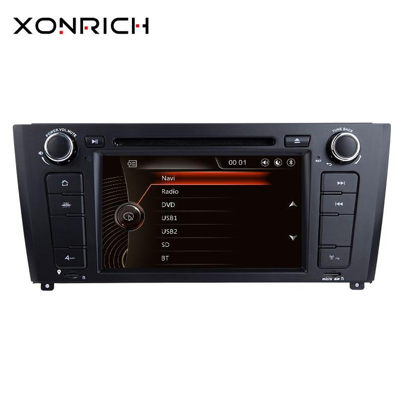 Xonrich AutoRadio 1 Din lecteur DVD de voiture pour BMW E87 BMW série 1 E88 E82 E81 I20 Navigation GPS unité de tête multimédia 3G DAB + BT