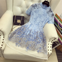 2018 New Oganza Fairy Vintage Lace Dress Women Turtleneck Perspective Three-dimensional Flower Mini Dress Students Blue Vestidos