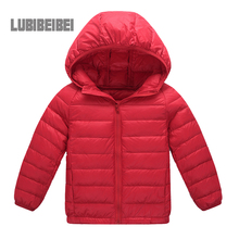 The new 2016 winter warm down jacket children, boys and girls children's clothing solid color thin hooded down jacket Age 2-12T
