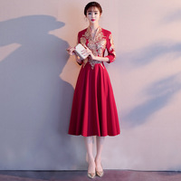Satin Embroidery Lady Chinese Dress Sexy Wedding Party Gown Traditional Cheongsam Large Size 3XL Vestidso V Neck Novelty Qipao